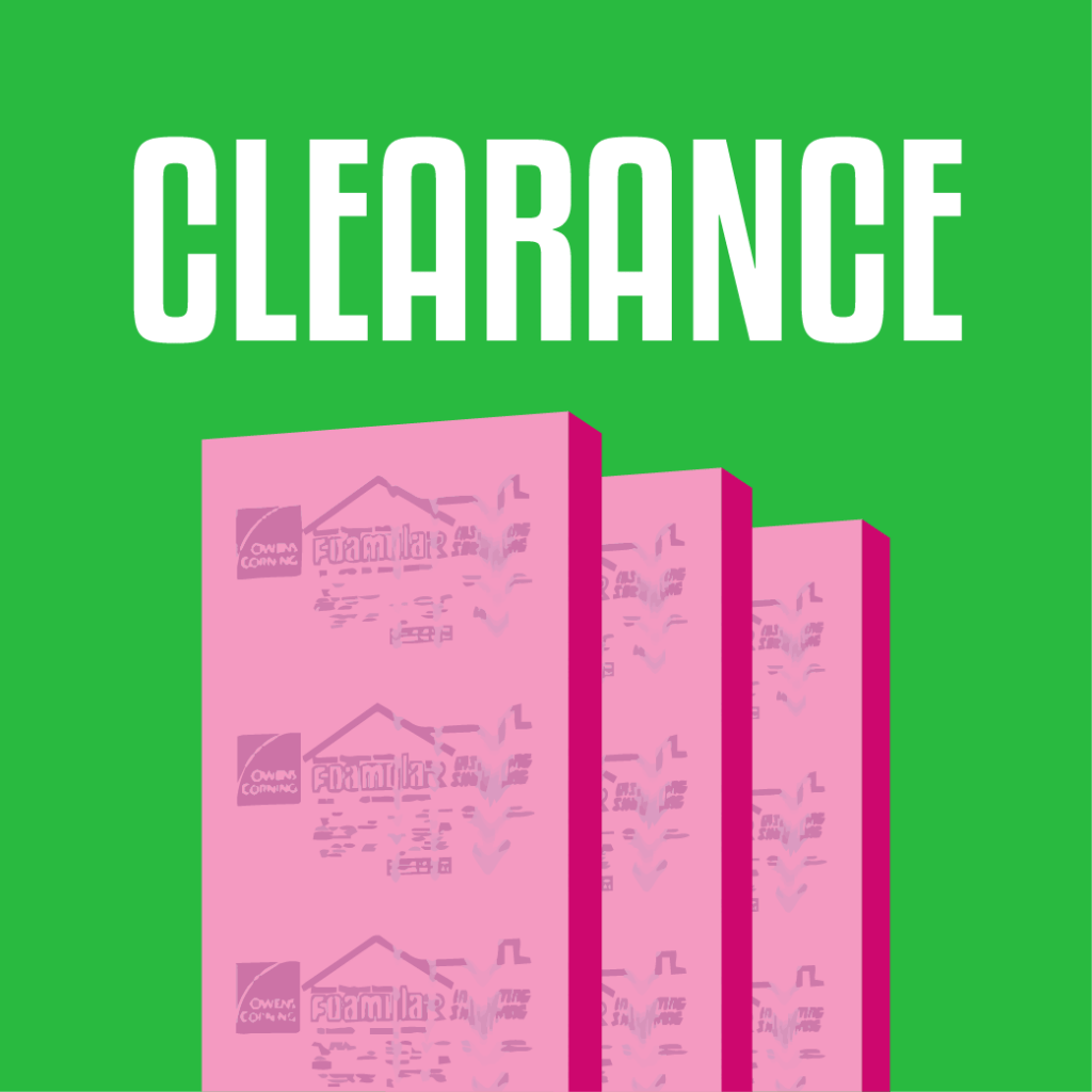 Proudly offering clearance Owens Corning rigid foam insulation board for sale.